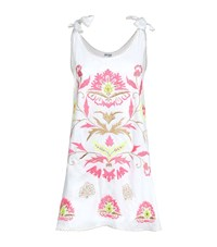 Juliet Dunn Tie Shoulder Embroidered Swing Dress Female Multi
