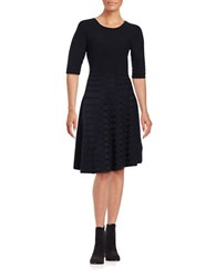 Ivanka Trump Three Quarter Sleeve Fit And Flare Ribbed Sweater Dress Navy