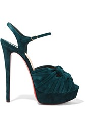 Christian Louboutin Ionescadiva 150 Knotted Suede Platform Sandals Emerald