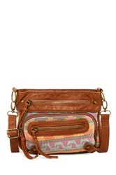 T Shirt And Jeans Aztec Crossbody Brown