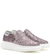 Alexander Mcqueen Leather Trimmed Glitter Slip On Sneakers Pink