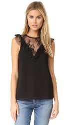 Wayf Andrea Lace Inset Blouse Black