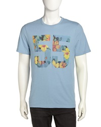 Penguin Floral Print 55 Tee Faded Denim
