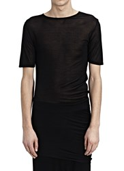 Thamanyah Short Sleeve Crew Neck Draped Black