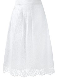 Muveil Lace Midi Skirt White