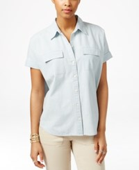 American Living Chambray Short Sleeve Shirt Only At Macy's Forest Wash