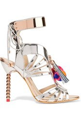Sophia Webster Yasmina Pom Pom Embellished Mirrored Leather Sandals Silver