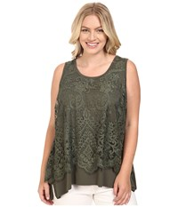 Karen Kane Plus Size Lace Overlay Handkerchief Tank Top Olive Women's Sleeveless