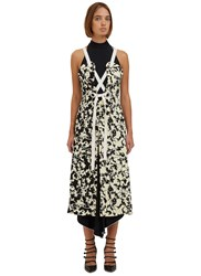 Proenza Schouler Long Printed Halterneck Dress Black
