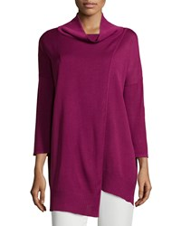 Misook 3 4 Sleeve Asymmetric Wrap Front Tunic Mulberry