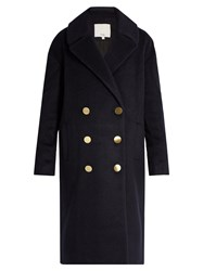 Tibi Oversized Wool And Mohair Blend Coat Navy