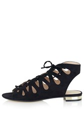 Topshop Hello Lace Up Gladiator Shoes Black