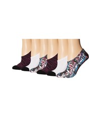 Converse 6 Pack Made For Chucks Punk Collage Sublimation Black White Purple Women's No Show Socks Shoes