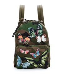 Valentino Camo Print Butterfly Backpack Multi