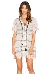 Gypsy 05 Cameo Embroidered Lace Up Tunic Ivory