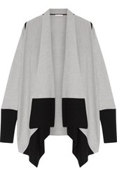 Duffy Two Tone Draped Wool And Cashmere Blend Cardigan Stone