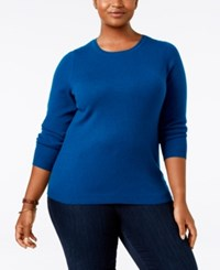 Charter Club Plus Size Cashmere Crewneck Sweater Only At Macy's Twilight Teal