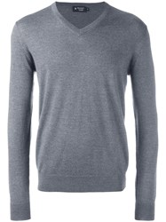 Hackett V Neck Jumper Grey