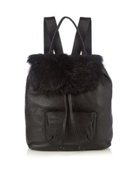 Elizabeth And James Langley Shearling Leather Backpack Black