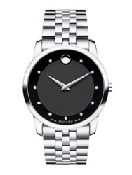 Movado Museum Classic Stainless Steel Diamond Bracelet Watch Silver Black