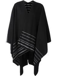 Numero00 Striped Knit Poncho Black
