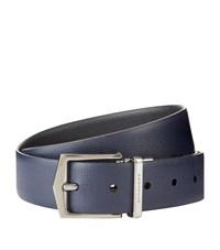 Burberry Shoes And Accessories Reversible Saffiano Leather Belt Unisex Navy