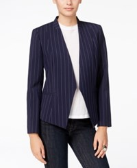 Armani Exchange Pinstripe Open Front Blazer Dark