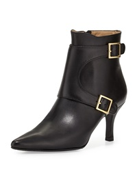 Neiman Marcus Zahara Double Buckle Leather Bootie Black