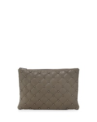 Neiman Marcus Beaded Quilted Large Clutch Bag Grey Gunme