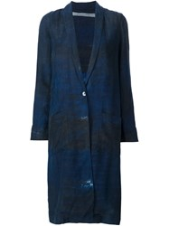 Raquel Allegra Distressed Duster Coat Blue
