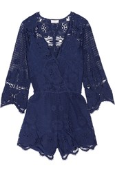 Miguelina Greta Crocheted Cotton Lace Playsuit Storm Blue