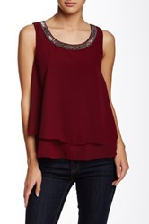 Angie Beaded Neck Layered Tank Purple