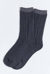 Urban Outfitters Cable Knit Premium Sock Black