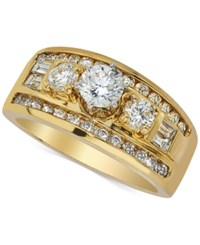 Macy's Three Stone Diamond Engagement Ring 1 1 3 Ct. T.W. In 14K Gold Yellow Gold