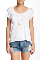 Sweet Romeo Short Sleeve Sccop Neck Pocket Tee White
