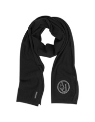 Armani Jeans Crystals Wool Blend Long Scarf Black