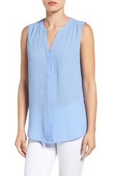 Nydj Petite Women's Print Pleat Back Sleeveless Split Neck Blouse Ceramic Blue