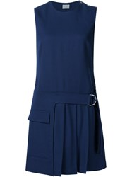 Grey Jason Wu Pleated Hem Sleeveless Dress Blue