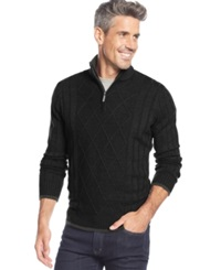 Geoffrey Beene Ribbed Contrast Panel Quarter Zip Sweater Black