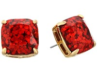 Kate Spade Small Square Studs Garnet Glitter Earring Red