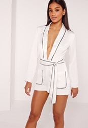 Missguided Silky Binded Plunge Playsuit White Ivory