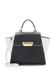 Zac Posen Eartha Colorblock Leather Top Handle Satchel Black