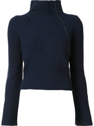 Derek Lam 10 Crosby Turtle Neck Jumper Blue