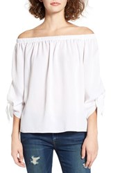 Soprano Women's Tie Sleeve Off The Shoulder Top White