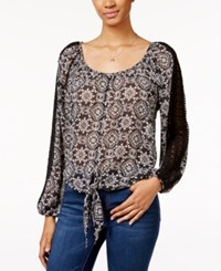 American Rag Printed Tie Front Blouse Only At Macy's Classic Black