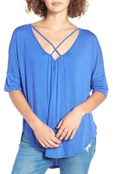 Lush Women's Cross Front Oversize Tee Dazzling Blue