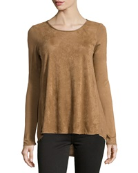Max Studio Faux Suede High Low Long Sleeve Tee Vicuna