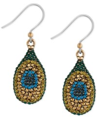 Lucky Brand Gold Tone Peacock Pave Drop Earrings