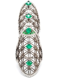Dionea Orcini 18K Gold Semiramis Double Ring With Emeralds Green