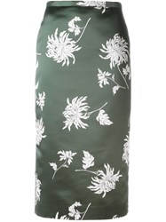 Rochas Floral Print Pencil Skirt Green
